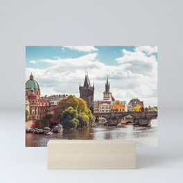 Historic Charles Bridge Vltava River Prague Amazing Cityscape Czech Republic Europe Ultra HD Mini Art Print