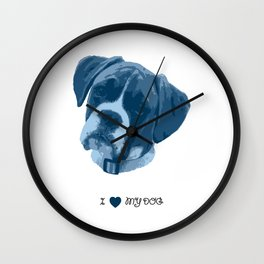 I love my dog - Boxer, blue Wall Clock