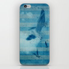 seagull in cyan iPhone & iPod Skin