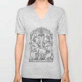 Ganesha Lineart Unisex V-Neck