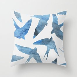 Watercolor birds - sapphire ink Throw Pillow