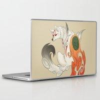 okami Laptop & iPad Skins featuring Okami Amaterasu  by Ectoimp