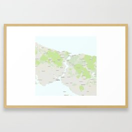 Minimalist Modern Map of Istanbul, Turkey 2 Framed Art Print