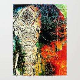 Mandala Indian Elephant Asian Spiritual Zen Bohemian Hippie Yoga Mantra Meditation Poster