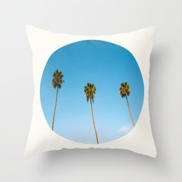 Mid Century Modern Round Circle Photo Minimalist Palm Trees Against Blue Sky Throw Pillow
