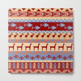 Inca Animals Fish and Birds Pattern Metal Print