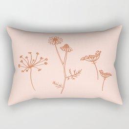 Wildflower Line Art Rectangular Pillow