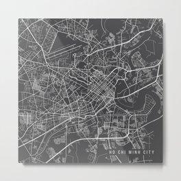 Ho Chi Minh City Map, Vietnam- Gray Metal Print