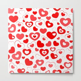 Red and White Hearts In Hearts Metal Print