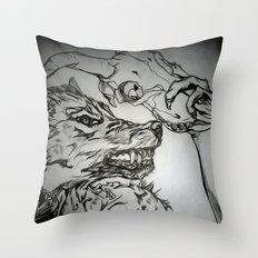 Pullin the Wolf Over My Eyes Throw Pillow