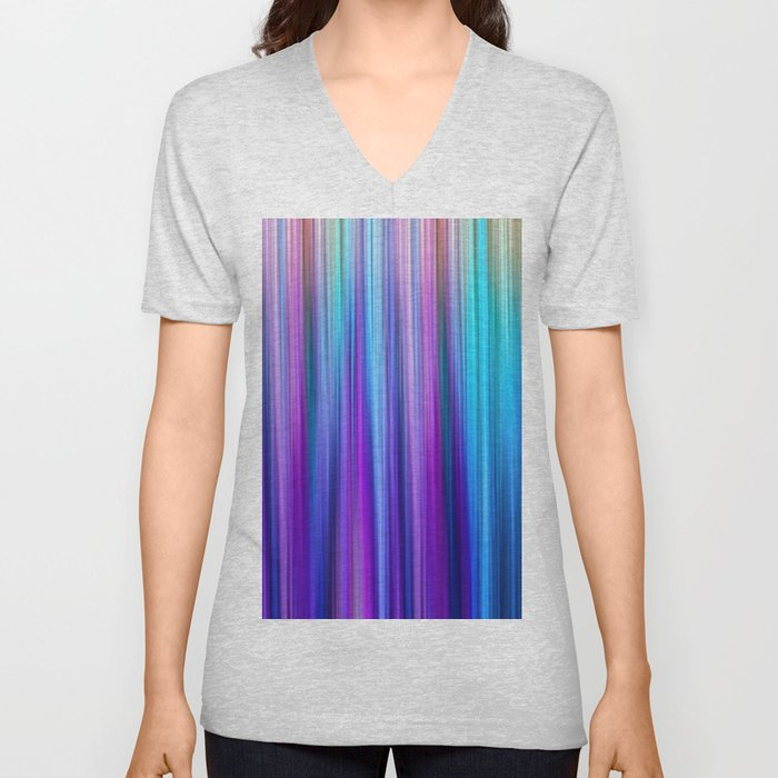 Abstract Purple and Teal Gradient Stripes Pattern Unisex V-Ausschnitt