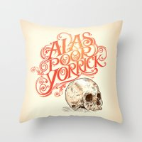 hamlet Throw Pillows featuring Hamlet Skull by Rachel Caldwell