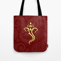 hindu Tote Bags featuring Maroon Ganesha - Hindu Elephant Deity by Enduring Moments