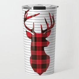Plaid Deer Head on Minimal Stripes Travel Mug