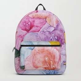 COLORFUL GLADIOLAS in WATERCOLORS Backpack