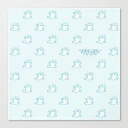 Kawaii Ice melting cat pattern Canvas Print