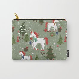 Christmas Winter Unicorn Pattern Carry-All Pouch