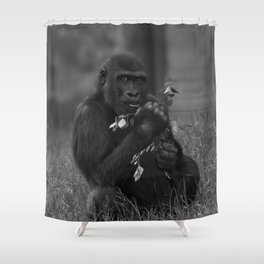 Cheeky Gorilla Lope Mono Shower Curtain