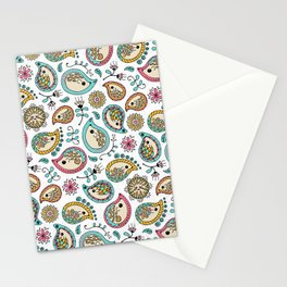 Hedgehog Paisley_Colors and White Stationery Cards