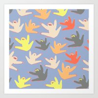 sloths Art Prints featuring Print with sloths by Darish