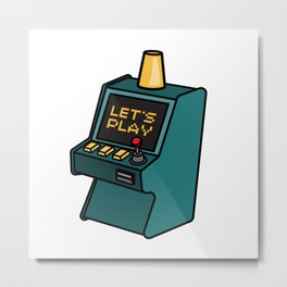 Retro arcade game machine. Lets play video games concept. Metal Print