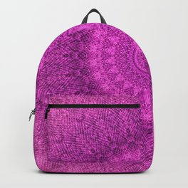 Sunflower Peacock Feather Bohemian Pattern \\ Aesthetic Vintage \\  Bright Fuchsia Pink Color Scheme Backpack