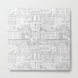 Doodle town pattern Metal Print