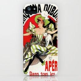 Quinquina Dubonnet woman white cat 1895 iPhone Case