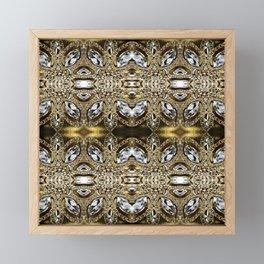 trendy girly fashion silver diamond rhinestone champagne gold  Framed Mini Art Print