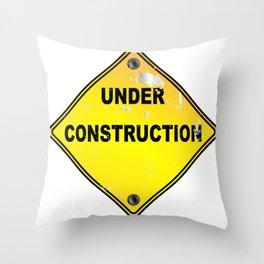 Yellow Under Construction Sign Throw Pillow
