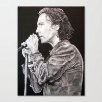 eddie vedder Canvas Prints featuring Eddie Vedder - Pearl Jam by whiterabbitart
