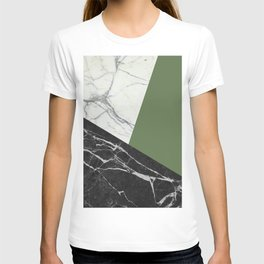 Black and White Marble with Pantone Kale T-shirt