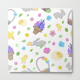 pattern with bunny, little yellow chickens in different poses, easter eggs, basket, lettering and branch with leaves and flowers in pastel colors Metal Print