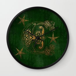Hunter and Gold Celtic Wall Clock
