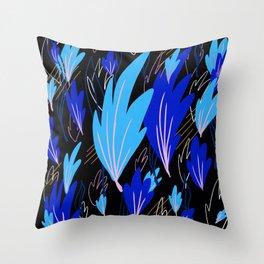 Blue Abstract Fern Throw Pillow