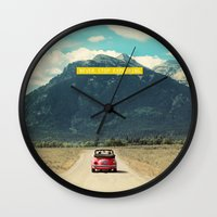 never stop exploring Wall Clocks featuring NEVER STOP EXPLORING III by Leslee Mitchell