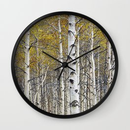 Birch Trees in Autumn Wall Clock