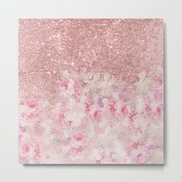 Girly pink boho floral rose gold glitter Metal Print