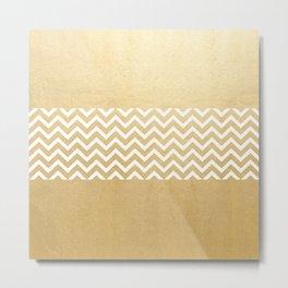 Gold Foil With White Chevron  Metal Print