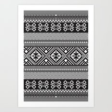 Monochrome Aztec inspired geometric pattern Art Print