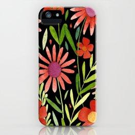 Flower Burst Orange and Black, floral pattern design iPhone Case