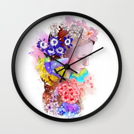 Flowers and Her Wall Clock