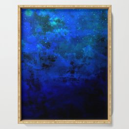 SECOND STAR TO THE RIGHT Rich Indigo Navy Blue Starry Night Sky Galaxy Clouds Fantasy Abstract Art Serving Tray
