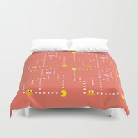 pacman Duvet Covers featuring Pacman by CATHERINE DONOHUE