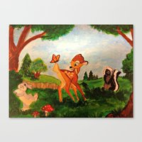 bambi Canvas Prints featuring Bambi by Jadie Miller