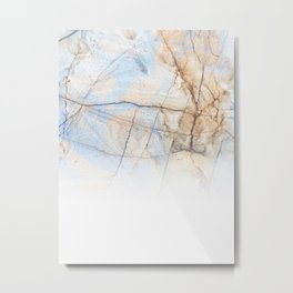 Cotton Latte Marble - Ombre blue and ivory Metal Print