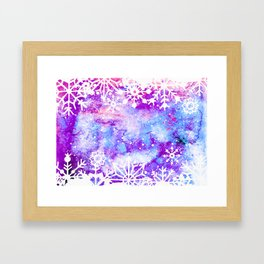 Purple Painted Merry Christmas Snowflakes Framed Art Print