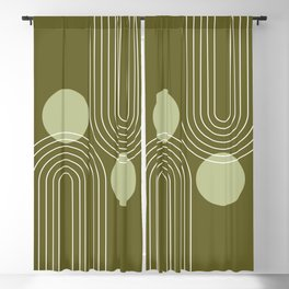 Mid Century Modern Geometric 63 in Olive Green (Rainbow and Sun Abstraction) Blackout Curtain