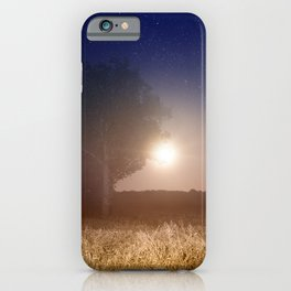 Full moon rising with stars landscape iPhone Case
