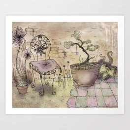 Vintage Garden Postal Art Print